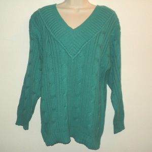 Mondi Size 40 M-L Sweater Teal Blue Heavy Knit
